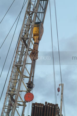 Close up of a drill rig derrick - Mining Photo Stock Library