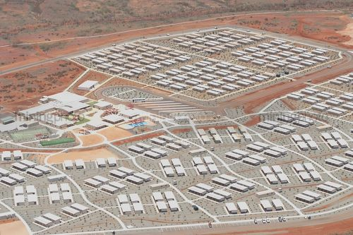 Great Aerial Shot Of A 3000 Person Mine Camp In Iron Ore Country