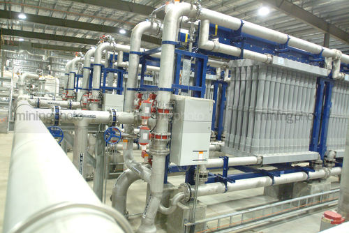 Inside water recycling  purification plant - Mining Photo Stock Library