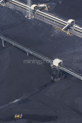 Vertical aerial photo of dozer stockpiling coal into hopper at coal terminal.  overhead conveyors.  coal to all edges of photo. - Mining Photo Stock Library