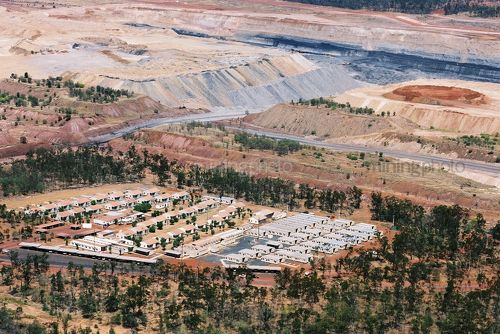 Aerial photo of mine camp adjacent to open cut coal mine. - Mining Photo Stock Library