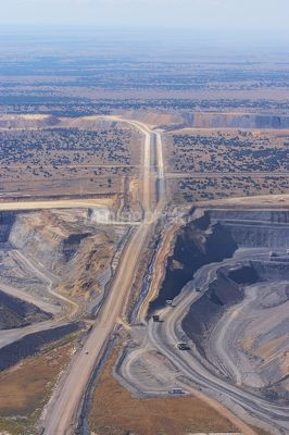High aerial vertical image of open cut coal mine.  high walls and mine operations clearly seen. - Mining Photo Stock Library