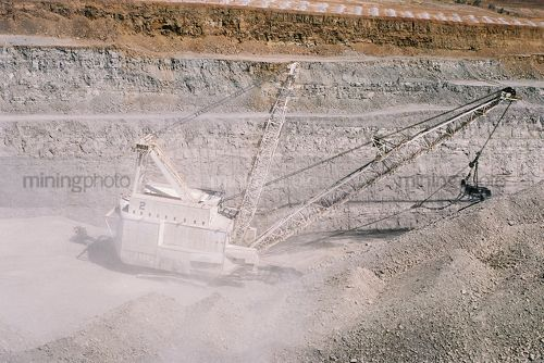 Aerial photo of drag line moving overburden in open cut coal mine. - Mining Photo Stock Library