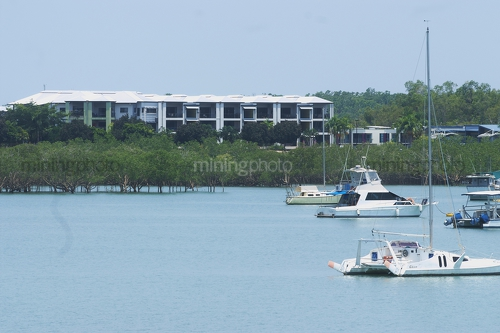 Vertical image of boats in harbour or a bay with mangroves and development behind - Mining Photo Stock Library