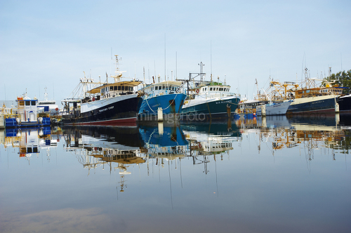 Fishing trawler boats moored in a clean water harbour.  photo taken at water level with blue sky behind. - Mining Photo Stock Library