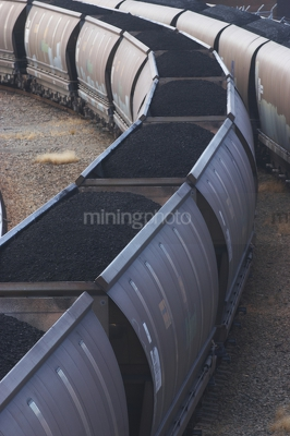 Vertical photo of loaded rail cars with coal.  close up image. - Mining Photo Stock Library