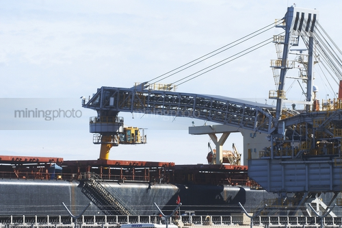 Shiploader loading product into a ship.  close up of actual loading. - Mining Photo Stock Library