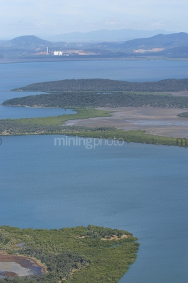 Aerial photo of mangroves and waterways - Mining Photo Stock Library