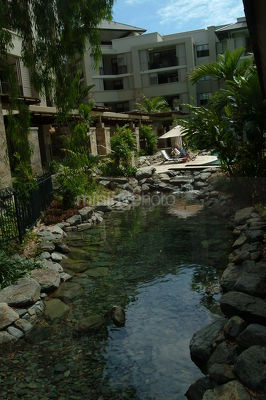 Water feature at Sea Temple resort  - Mining Photo Stock Library