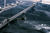 Mining Photo Stock Library - stockpiled coal at port facility with heavy rail and coal loaders ( Weight: 1  New Image: NO)