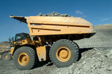 Mining Photo Stock Library - coal truck emptying overburden onto stockpile with high walls behind ( Weight: 4  New Image: NO)
