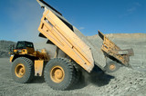 Mining Photo Stock Library - haul trucks emptying coal overburden onto stockpile ( Weight: 1  New Image: NO)