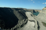Mining Photo Stock Library - looking down coal high walls to haul road and coal tailings dam ( Weight: 1  New Image: NO)