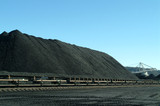 Mining Photo Stock Library - stockpiled coal with reclaimer working in background ( Weight: 4  New Image: NO)