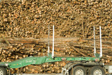 Mining Photo Stock Library - closeup of stockpiled logs with transport trailer in foreground ( Weight: 2  New Image: NO)