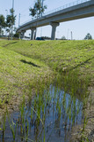 Mining Photo Stock Library - looking up a water swale to light rail train flyover.  shot vertical ( Weight: 1  New Image: NO)