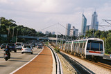 Mining Photo Stock Library - cars and train take commuters in peak hour into Perth city. ( Weight: 1  New Image: NO)