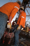 Mining Photo Stock Library - workers working together to lay pipe on a drill rig ( Weight: 1  New Image: NO)