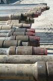 Mining Photo Stock Library - pipe casing closeup ready to install on oil and gas rig ( Weight: 1  New Image: NO)