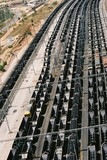 Mining Photo Stock Library - aerial shot of many coal rail carriages ( Weight: 2  New Image: NO)