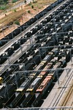Mining Photo Stock Library - aerial shot of many coal rail carriages ( Weight: 1  New Image: NO)