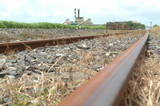 Mining Photo Stock Library - industry rail track shot at ground level with sugar cane mill in background. ( Weight: 1  New Image: NO)