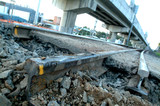Mining Photo Stock Library - rail track cut for upgrade work with rail overpass above. ( Weight: 3  New Image: NO)