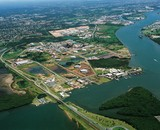 Mining Photo Stock Library - aerial of bridge, road and water treatment plant in city suburbs ( Weight: 3  New Image: NO)