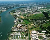 Mining Photo Stock Library - aerial of river with marina and industry and golf course and boating in river. ( Weight: 3  New Image: NO)