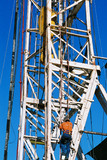 Mining Photo Stock Library - drill rig worker climbing up the outside of the derrick ( Weight: 1  New Image: NO)