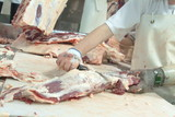 Mining Photo Stock Library - worker in abattoir dressing meat ( Weight: 1  New Image: NO)