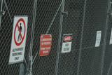 Mining Photo Stock Library - wire fence with safety signs. permit to work ( Weight: 5  New Image: NO)