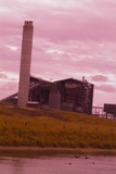 Mining Photo Stock Library - smokestack of power station shot at sunset looking opver the lake. vertical shot. ( Weight: 1  New Image: NO)