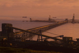 Mining Photo Stock Library - long wharf out to ships being loaded at sunset. ( Weight: 2  New Image: NO)