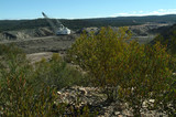 Mining Photo Stock Library - drag line at open cut coal mine with green plants in foreground.  ( Weight: 5  New Image: NO)