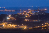 Mining Photo Stock Library - coal terminal shot after dark with lights on ships and the wharf. ( Weight: 1  New Image: NO)