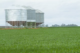 Mining Photo Stock Library - large grain silos in green paddock ( Weight: 3  New Image: NO)