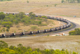 Mining Photo Stock Library - about 40 coal carriages on track.  shot from high viewpoint ( Weight: 4  New Image: NO)
