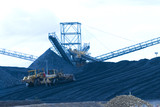 Mining Photo Stock Library - two bulldozers pushing coal onto stockpile at coal wash plant hopper and rail terminal. ( Weight: 1  New Image: NO)