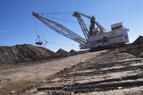 Mining Photo Stock Library - dragline removing overburden in open cut coal mine.  shot from ground level looking along the tracks. ( Weight: 1  New Image: NO)