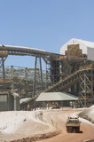 Mining Photo Stock Library - vertical shot of multi level  gold processing plant with conveyors and light vehicle moving in foreground.  great production photo. ( Weight: 1  New Image: NO)