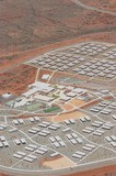 Mining Photo Stock Library - vertical shot as a close up aerial photo of 3000 person workers camp in iron ore country. ( Weight: 1  New Image: NO)