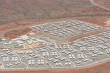 Mining Photo Stock Library - close up aerial photo of 3000 person workers camp in iron ore country. ( Weight: 1  New Image: NO)