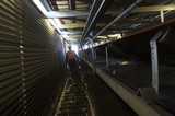 Mining Photo Stock Library - mine worker in full PPE on walkway inside covered coal conveyor ( Weight: 1  New Image: NO)