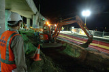 Mining Photo Stock Library - project manager in full PPE overseeing night works on train line with excavator.  shto at night with construction lighting. ( Weight: 1  New Image: NO)
