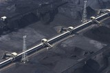 Mining Photo Stock Library - aerial photo of stockpiled coal at shipping terminal. ( Weight: 1  New Image: NO)