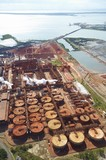 Mining Photo Stock Library - vertical wide aerial photo of a bauxite alumina refinery.  clearly depicts wharf shipping and all areas of processing plant. ( Weight: 1  New Image: NO)