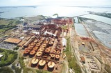 Mining Photo Stock Library - wide aerial photo of a bauxite alumina refinery.  clearly depicts wharf shipping and all areas of processing plant. ( Weight: 1  New Image: NO)