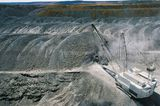Mining Photo Stock Library - aerial photo of dragline moving overburden in open cut coal mine.  Great midden patterns. Good for two page spread with copy on left hand page. ( Weight: 1  New Image: NO)