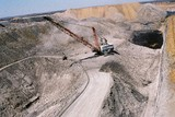 Mining Photo Stock Library - aerial photo of dragline in open cut coal mine with light vehicle adjacent for scale.  Excavator moving coal.  ( Weight: 1  New Image: NO)